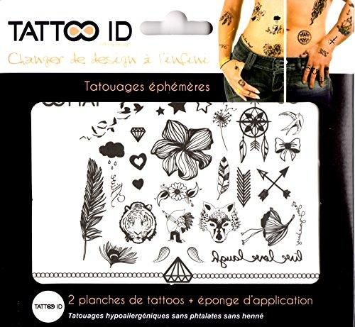 TATTOO ID MIX NOIR ET BLANC tatouage ephemere temporaire hypoallergénique Fabriqué en FRANCE . 2 planches identiques + 1 éponge cosmétique Homme Femme