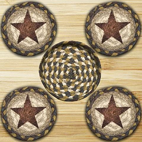 Earth Rugs 29-CB051GS Star Design Round Jute Basket with 4-Printed