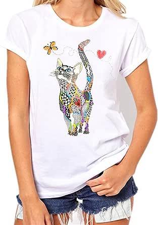 KEERADS Femme Fille T-Shirt Chat Imprimé T-Shirt Été Automne Simple Manches Courtes Col Rond Dame Tops