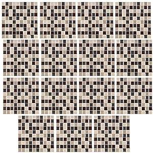 infactory Fliesen Designfolie: Selbstklebende 3D-Mosaik-Glitzer-Fliesenaufkleber, 26 x 26cm, 15er-Set (Natursteinoptik-Fliesenaufkleber)