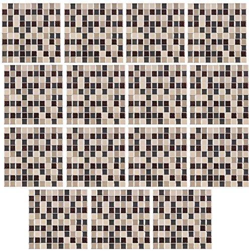 infactory Selbstklebende Folie: Selbstklebende 3D-Mosaik-Glitzer-Fliesenaufkleber, 26 x 26cm,...