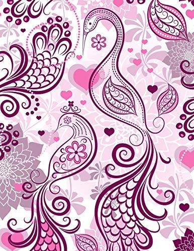 Carnet de Notes: Grand journal personnel de 121 pages blanches avec couverture fantaisie « Oiseaux Roses » par Virginie Polissou