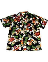 "Chemise Hawaienne Homme ""Hawaiian Ukulele"" 100% coton, taille M – 3XL, noir"