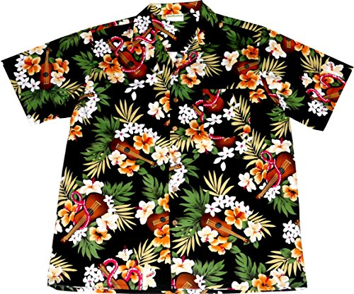 Hawaiian-Shirt-Hawaiian-Ukulele-100-cotton-size-M--3XL