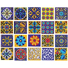 Shiv Kripa Blue Art Pottery Classic Decorative Interior Exterior Crafted Tabletop Flooring Wall Ceramic 2 x 2 inch Tiles Pack of 20 Tiles (Blue,Yellow & Multi)