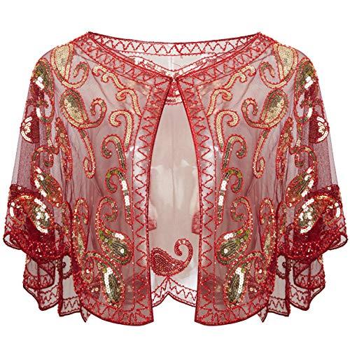 ArtiDeco 1920er Jahre Retro Schal Umschlagtücher für Abendkleider Stola für Hochzeit Party Gatsby Kostüm Accessoires (Weinrot)