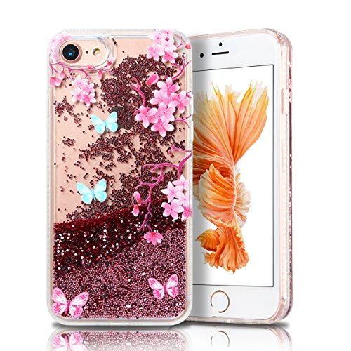Cover iPhone 7 Custodia iPhone 7 Liquido Anfire Trasparente Rigida Duro Plastica PC Case per Apple iPhone 7 (4.7 Pollici) Sabbie Mobili Shell 3D Bling Glitter Floating Quicksand Copertura Hard Shock S Fiori Rosa