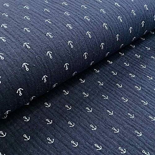 0,5m Musselin Anker-Muster dunkelblau Meterware 1,4m breit