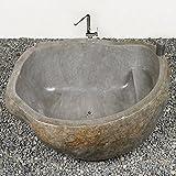 wohnfreuden Naturstein Badewanne 154x110x65 cm ✓ indonesischer Flussstein poliert ✓ freistehend ✓ Top Qualität ✓ schnell
