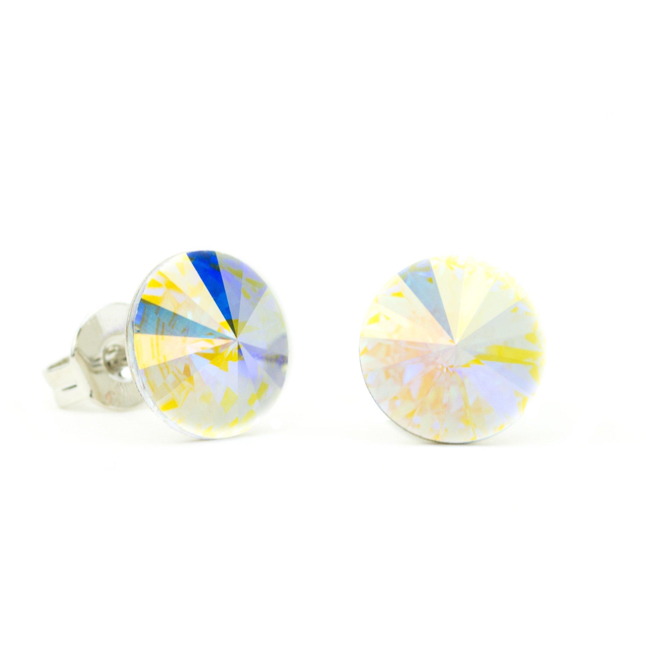 Eve S jewelry–Orecchini da donna con Swarovski Elements Crystal AB placcato argento rodiato bianco