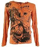 Guru-Shop Sure Langarmshirt, Kapuzenshirt Dancing Ganesh, Herren, Rostorange, Baumwolle, Size:M, Bedrucktes Shirt Alternative Bekleidung