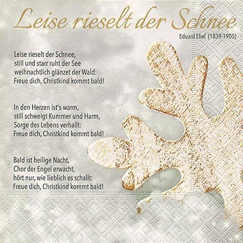 20 Servietten Leise rieselt der Schnee / Lied / Weihnachten / deutscher Text / Weihnachtslied 33x33cm