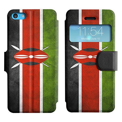 Graphic4You Vintage Uralt Flagge Von Elfenbeinküste Ivorisch Design Leder Schützende Display-Klappe Brieftasche Hülle Case Tasche Schutzhülle für Apple iPhone 5C Kenia