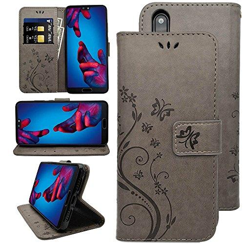 KUAWEI Huawei P20 Hülle Wallet Case Flip Cover Handy Schutzhülle Kunstleder mit Kartenfach und Standfunktion Handycover Klapphülle Etui im Bookstyle Magnetverschluss für Dein Huawei P20 5.8