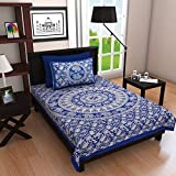 #6: Ubania Collection Rajasthani Print Cotton Single Bedsheet with 1 Pillow Covers - Blue