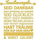 GRAZDesign 300162_50_WT020 Wandtattoo Familienregeln für Wohnzimmer Spruch Dankbar Mitgefühl Pfeil Herz | Selbstklebende Folie | Passend für Dein zu Hause (54x50cm//020 Goldgelb)