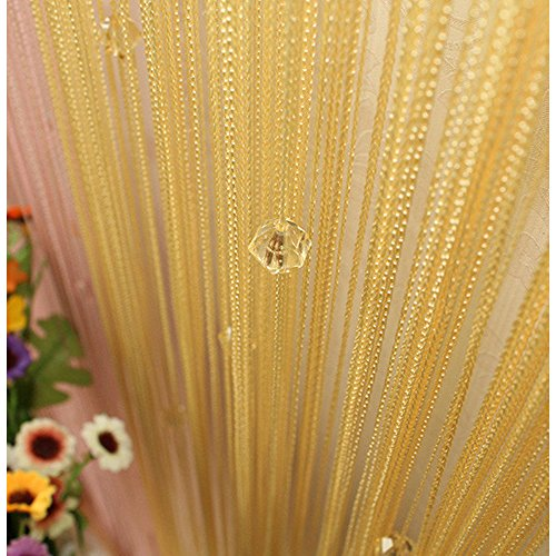 Beauty Strang Quaste Crystal Perlen Vorhang Tür Fenster Panel Raumteiler Dekoration TJB gold Gold Panel