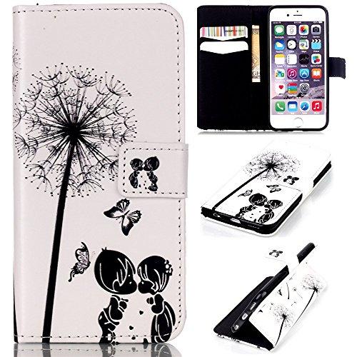 Ooboom® iPhone 5SE Hülle Flip PU Leder Schutzhülle Handy Tasche Case Cover Wallet Stand mit Kartenfächer Magnetverschluss für Apple iPhone 5SE - Rose Kinder Löwenzahn