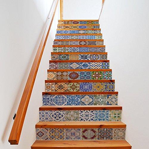 Treppe Set (Extsud 13er Set Strand Treppe Aufkleber DIY selbstklebende Türtapete Aufkleber angebracht renovierten Treppe wasserdicht Mehrfarbig Sticker 100*18 cm/pcs)