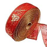 Cosanter Weihnachtsbaum Gaze Blumen Bänder Kranz PVC Rot Wired Edge Glitter Band 2 M Für Weihnachten oder Hochzeit Dekoration