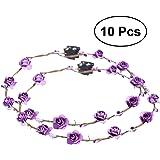 Frcolor Blumen Stirnband schöne Haarkranz mit LED Deko für Festival-Hochzeits-Party 10 Stücke