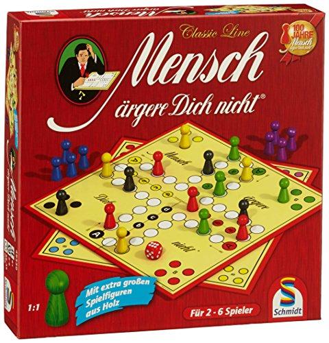 Schmidt Spiele 49330 Classic Line, Mensch ärgere Dich Nicht, mit extra großen Spielfiguren aus Holz, FFP, bunt