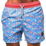 Badeshort für Herren, Mode Flamingo Bedruckter Sommer Loose Fit Kurze Hose Casual Strand Surf Wassersport Badehose Beachshorts Schwimmhose