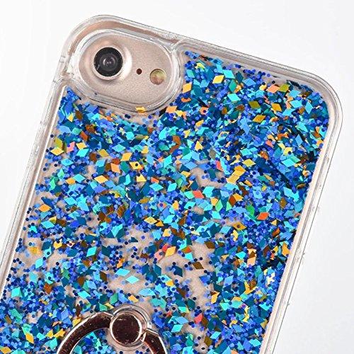 Custodia per iPhone 7 / iPhone 8 Brillantini Liquido Clessidra - Girlyard Glitter Colorata Elegante Dura Plastica Rigida Cover Bumper per Apple iPhone 8 / iPhone 7 [Liquido Oro] Crystal Clear Quicksan Blu