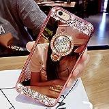 Etsue Glitzer Silikon Schutz HandyHülle für iPhone 6s Plus/iPhone 6 Plus mit Ring Fingerhalterung Ständer TPU Hülle, Spiegel Hülle Mirror Effect Glänzend Glitzer Sparkle Strass Diamant Luxus Kristall Glitter Silikon Handytasche, iPhone 6s Plus/iPhone 6 Plus Ultradünnen Weiche TPU Telefon-Kasten Handyhülle für iPhone 6s Plus/iPhone 6 Plus + 1x Glitzer Staub Stecker + 1x Blau Eingabestift-Rose Gold