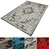casa pura® Vintage Teppich | viele Größen | im angesagten Shabby Chic Look | für Wohnzimmer, Schlafzimmer, Flur etc. | grau (120x170 cm)