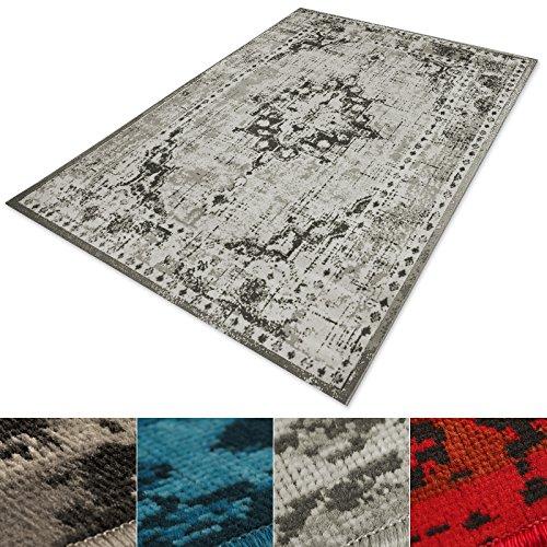 casa pura® Vintage Teppich   viele Größen   im angesagten Shabby Chic Look   für Wohnzimmer, Schlafzimmer, Flur etc.   grau (160x230 cm)