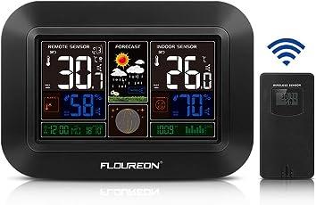 FLOUREON Digital Wetterstation mit außensensor Funkwetterstation Farbdisplay Wetter Station LuftfeuchtigkeitHygrometer Innen- und Außentemperatur Wettervorhersage LCD-Display