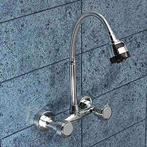 YAWEDA Wand befestigter Armatur flexible Doppelgriff-einzelnes Loch Waschbecken Waschbecken Wasser Mixe Hahn Hot Cold Water Küchenarmatur (Waschbecken Einzelnes Fach)