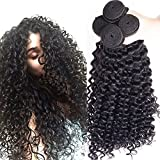 1 Bundle 14\ , Curly Wave : Rosette Hair Curly Wave Hair Extension/Weft, 100% Brazilian Virgin Remy Human Hair with Unprocessed Natural Black Color, S