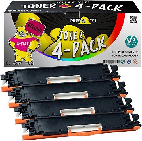 Yellow Yeti 4er Pack 126A CE310A CE311A CE312A CE313A Premium Toner kompatibel für HP Laserjet Pro M175nw M175a CP1025 CP1025nw TopShot MFP M275 M275a M275nw [3 Jahre Garantie]