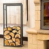 Leña de fuego madera estante 100cm gris madera cesta para la leña de almacenamiento estantes madera de almacenamiento