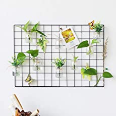 DIY Eisen Grid Panel Foto Wand Multifunktion Metall Mesh Wand Dekor/Hanging Photo Wall/Wall Art Display & Organizer (60X60cm, Schwarz)