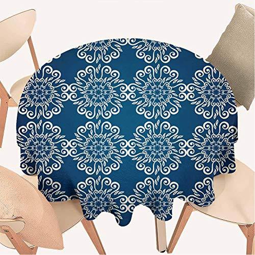 Petpany Tischdecke, rund, dekoratives Muster, ideal für Küche, Esstisch, Buffet, Dekoration, Vinyl, Color12, D48 inchs