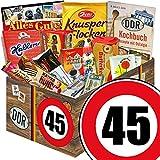 DDR Suessigkeiten-Box   Ostpaket L   Zahl 45   Geburtstag Vater