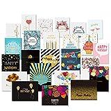 UNOMOR 24 Geburtstagskarten mit Goldenen Verzierungen Design und 26 Umschlägen