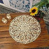 Handgefertigte Tischdecke/Tischsets, Häkelmuster, Baumwolle mit Spitze, rund, 61 cm von Y-Step beige