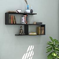 Klaxon S Shape Book Shelf/Wall Shelf and Storage Unit   Display Unit (Black)