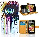 FoneExpert® Wiko Rainbow 3G / 4G Handy Tasche, Wallet Case Flip Cover Hüllen Etui Ledertasche Lederhülle Premium Schutzhülle für Wiko Rainbow 3G / 4G