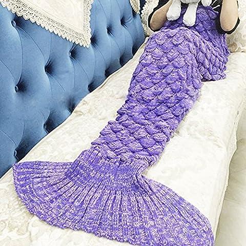 Couverture de queue de sirène pour adultes canapé de salon chaleureux tricotés à la main lève couverture de cadeau de Noël parfait 190cmX90cm (Adultes, S-11-Brillant violet)