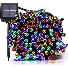 Secuencia de luces LED solares exteriores para Navidad Guluman, 200LED de 22 m, 8modos, secuencia de luces solares impermeables para árbol de Navidad, jardín, casa, fiesta, plaza