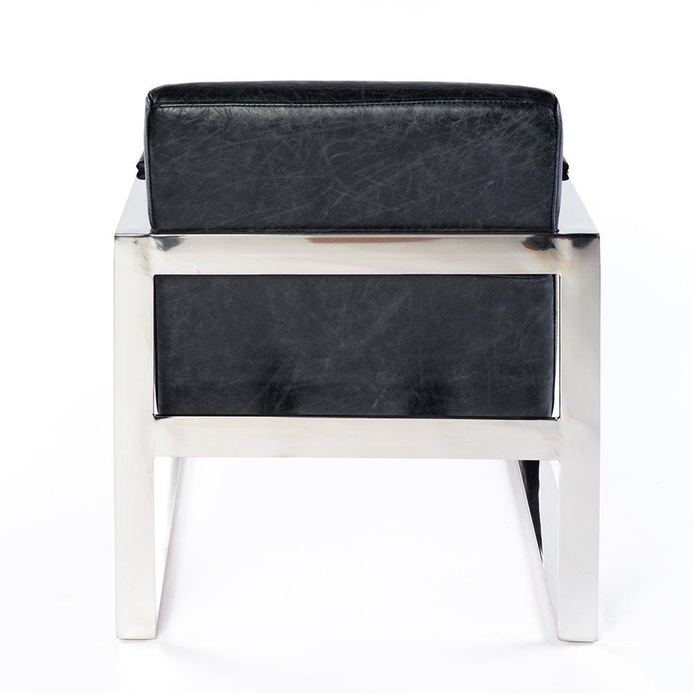 Phoenixarts Echtleder Vintage Ledersessel Schwarz Wartezimmer Sessel Retro Design 645