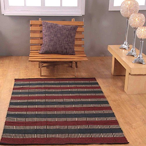 Homescapes Large Modern Jute Rug Red, Blue and Black Striped Geometric Design 120 x 180cm (4ft x 6ft) Heavy Duty Suitable for Halls, Living Rooms or Conservatories