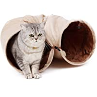 PAWZ Road sämisch Katzentunnel Katzenspielzeug Rascheltunnel Spieltunnel 120cm mit 2 Höhlen