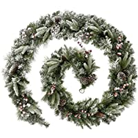 WeRChristmas Extra Thick Mixed Pine Snow Flocked Garland with Cones and Berries Christmas Decoration, Green/White, 9 feet