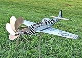 P-51 Mustang Flugzeug als Windrad aus Edelstahl/ Metall Propeller dreht - Gartendeko